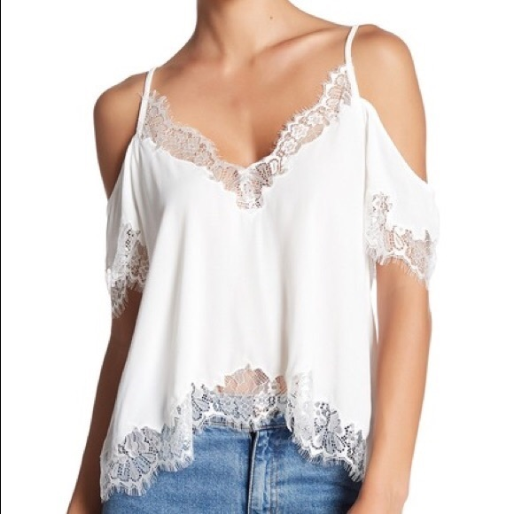 Astr Tops - ASTR White cold shoulder top w/ lace detail